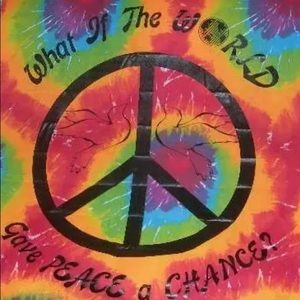 Tie Dye Wall Hanging Give Peace A Chance Vintage